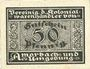 Banknotes Amorbach und Umgebung. Vereinig d. Kolonial Warenhändler. Billet.  50 pf n. d., carton