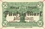 Banknotes Anhalt. Herzogliche F. D. Billet. 50 mark 1.11.1918, Annulation par traits en diagonal