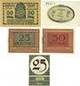 Banknotes Ansbach. Stadt. Billets. 50 pf 1917, 50 pf 1918, 25 pf, 50 pf 1.11.1918, 25 pf 1.12.1920