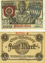 Banknotes Aschaffenburg. Stadt. Billets. 25 pf, 5 mark n.d.