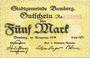 Banknotes Bamberg. Stadt. Billet. 5 mark 1918, numérotation rouge