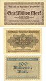 Banknotes Bayerische Staatsbank. Munich 1923. Billets. 1, 10 millions mk 1.8.1923, 100 millions mk
