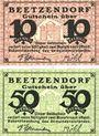 Banknotes Beetzendorf. Gemeinde. Billets. 10 pf, 50 pf (1921)