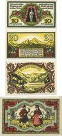 Banknotes Berchtesgaden. Marktgemeinde. Billets. 10 pf, 20 pf, 50 pf, 1 mark 13.8.1920