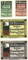 Banknotes Bergen a. d. Dumme. Gemeinde. Série de 4 billets. 5, 10, 25, 50 pf n.d. - 31.12.1922