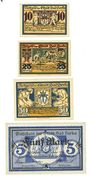 Banknotes Berka. Bad. Stadt. Billets. 10 pf, 25 pf, 50 pf, 5 mark (réimpression) 20.8.1920