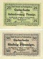 Banknotes Berneck im Fichtelgebirge. Stadt. Billets. 25 pf, 50 pf janvier 1917