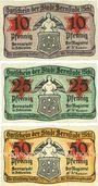 Banknotes Bernstadt (Blerutow, Pologne). Stadt. Billets. 10 pf, 25 pf, 50 pf (1920)