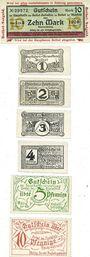 Banknotes Bethel. Hauptkasse der Bethel-Anstalten. 10 mk (1918), 1, 2, 3, 4, 5, 10 pf (1919/20)