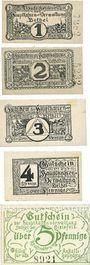 Banknotes Bethel - Hauptkasse der Bethel-Anstalten. Billets. 1, 2, 3, 4, 5 pf n.d. (1919/20)