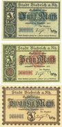 Banknotes Biebrich am Rhein. Stadt. Billets. 5 mark, 10 mark, 20 mark 1918