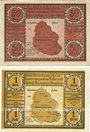 Banknotes Bielschowitz (Bielszowice, Pologne). Gemeinde. Billets. 50 pf, 1 mark, série II, n.d.