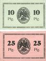 Banknotes Bischofswerder (Biskupiec, Pologne). Stadt. Billets. 10 pf, 25 pfennig 1.7.1920 (1921)