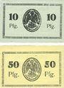 Banknotes Bischofswerder (Biskupiec, Pologne). Stadt. Billets. 10 pf, 50 pfennig 1.7.1920 (1921)