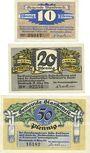 Banknotes Blankenes. Gemeindesparkasse. Billets. 10 pf, 20 pf, 50 pf 15.3.1921
