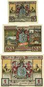 Banknotes Blankenhain. Stadt. Série de 3 billets. 10 pf, 50 pf, 1 mark n. d. (1921)