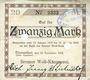 Banknotes Blumenthal. Bremer Wollkämmerei. Billet. 20 mark 10.11.1918, annulation par perforation