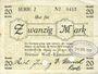 Banknotes Blumenthal. Bremer Wollkämmerei. Billet. 20 mark 22.4.1919, annulation par perforation