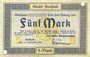 Banknotes Bocholt. Stadt. Billet. 5 mark 15.11.1918, annulation par perforation