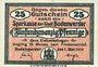Banknotes Bodenwerder. Stadtsparkasse. Billet. 25 pf 1.5.1919, cachet au dos
