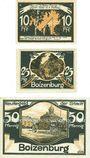 Banknotes Boizenburg. Stadt. Billets. 10 pf, 25 pf, 50 pf n.d. - 31.5.1922