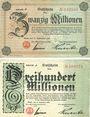 Banknotes Bonn. Stadt und Handelskammer. Billets. 20 millions de mk, 300 millions de mk 1923