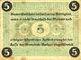 Banknotes Borkum. Gemeinde. Billet. 5 pfennig 28.6.1917