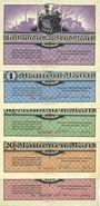 Banknotes Borna. Deutsche Erdöl-Aktiengesellschaft. Billets. 100000, 1, 10, 20, 50 millions de mk