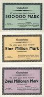 Banknotes Borna. Deutsche Erdöl-Aktiengesellschaft. Billets. 500000, 1 million, 2 millions de mk
