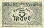 Banknotes Bremen. Finanzdeputation. Billet. 5 mark 28.10.1918, série O