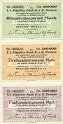 Banknotes Bremen. Franke Werke K. a. A., Billets. 100000 mark , 200000 mark , 500000 mark 1923