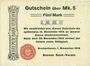 Banknotes Bremerhaven. Bremer Bank-Verein. Billet. 5 mark 1.11.1918, annulation par perforation