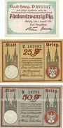 Banknotes Brieg (Brzeg, Pologne). Stadt. Billets. 25 pf 1.8.1920 ; 25 pf, 50 pf 18.1.1921
