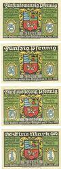 Banknotes Brunsbüttelkoog. Verein für Handel. Gewerbe und Industrie. Billets. 25, 50, 75 pf, 1 mk