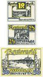 Banknotes Brunshaupten. Gemeinde. Billets. 10 pf, 25 pf, 50 pf, Reutergeld