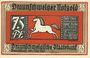 Banknotes Brunswick. Braunschweigische Staatbank. Billet. 75 pf du 1.5.1921, sans nom d'imprimeur