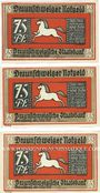 Banknotes Brunswick. Braunschweigische Staatbank. Billets. 75 pf 1.5.1921 (3ex)