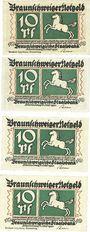Banknotes Brunswick. Braunschweigische Staatbank. Série de 4 billets. 10 pfennig du 1.5.1921