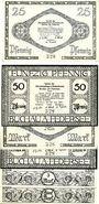Banknotes Buchau. Verein für Altertumspflege und Heimatkunde. Billets. 25, 50 pf, 1, 2, 3, 5 mark