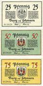 Banknotes Burg auf Fehrmarn. Stadt. Billets. 25 pf, 50 pf 75 pf n. d. (1921)