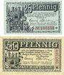 Banknotes Burg Bez Magdebourg. Stadt. Billlets. 25 pf, 50 pf 1.10.1918
