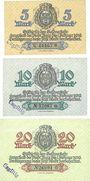 Banknotes Burg Bez Magdebourg. Stadt. Billlets. 5, 10, 20 mark 1.12.1918