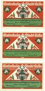 Banknotes Celle. Stadt. Billets. 25 pf, 50 pf, 75 pf (1922)