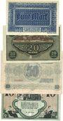 Banknotes Chemnitz. Finanzvereinigung Chemnitzer Industrieller. Billets. 5, 20, 50 mk,10 mk 11.1918