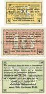 Banknotes Chemnitz Sächsische Maschinenfabrik vorm Rich. Hartmann AG. Billets. 5, 10, 20 mk 21.11.1918