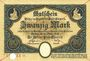 Banknotes Chemnitz. Stadt. Billets. 20 mark 28.10.1918