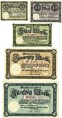 Banknotes Cochen. Landkreis. Billets. 50 pf, 1, 5, 20, 50 mark 19.11.1918