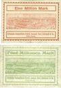 Banknotes Cologne-Deutz. Kölnische Gummifäden-Fabrik. Billets. 1 million mk 11.8.1923, 5 millions mk 22.8.1923