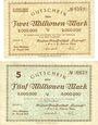 Banknotes Cologne-Mülheim. Konsum-Genossenschaft Eintracht e.G.m.b.h., 2 et 5 millions mark 10.8.1923