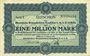 Banknotes Cologne. Rheinische Braunkohlen-Syndikat G.m.b.H. in Köln. Billet. 1 million mark 1.8.1923, série C